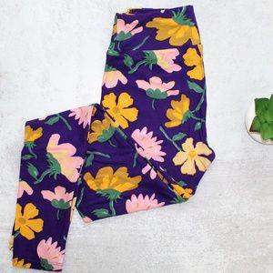 LuLaRoe Purple Floral Leggings Size OS